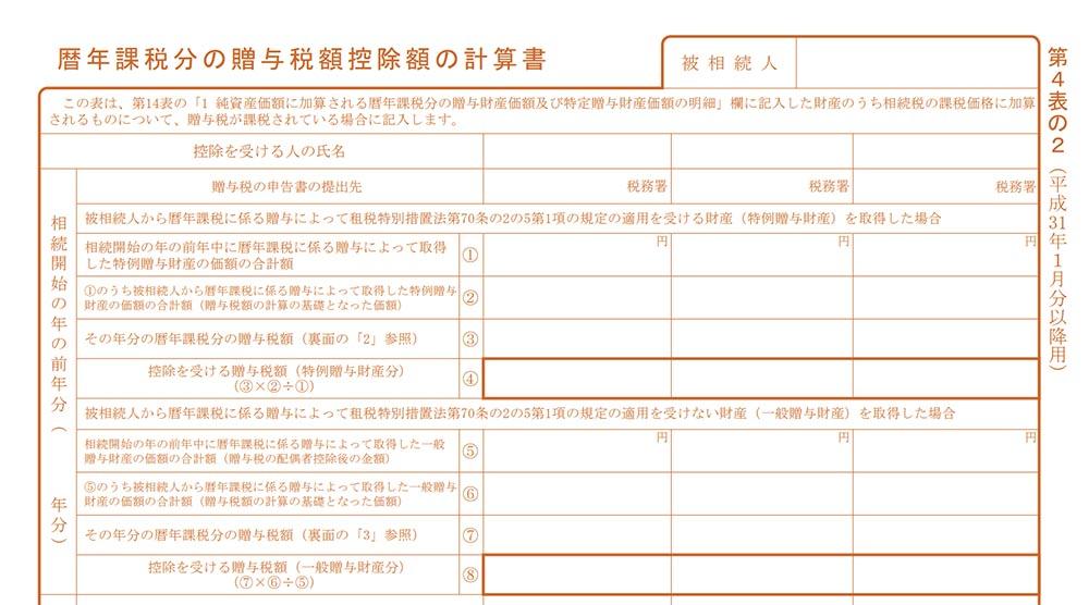 相続税申告書の見本(第4表の2)