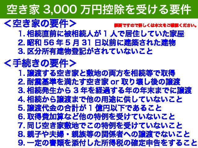 空き家の3,000万円控除の要件